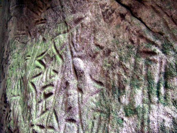 Another view of the carvings at the Edakkal Caves