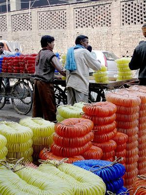 Bangle sellers at Firozabad