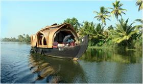 A view of the Houseboat in the Kerala Backwaters
